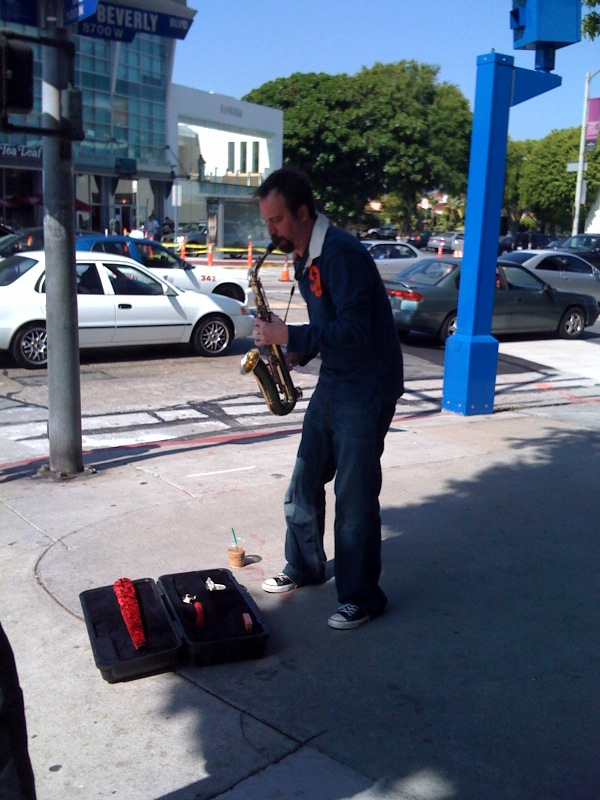 Tom Green Playing Sax on Street